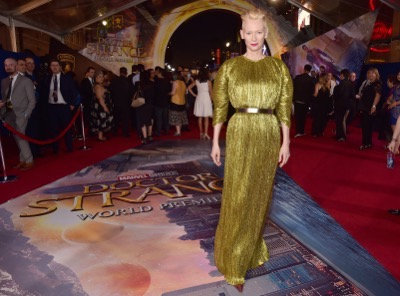 """HOLLYWOOD, CA - OCTOBER 20:  Actress Tilda Swinton, wearing Haider Ackermann, attends The Los Angeles World Premiere of Marvel Studiosí """"Doctor Strangeî in Hollywood, CA on Oct. 20th, 2016.  (Photo by Alberto E. Rodriguez/Getty Images for Disney) *** Local Caption *** Tilda Swinton"""