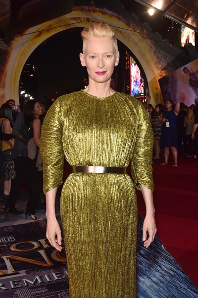"HOLLYWOOD, CA - OCTOBER 20:  Actress Tilda Swinton, wearing Haider Ackermann, attends The Los Angeles World Premiere of Marvel Studiosí ""Doctor Strangeî in Hollywood, CA on Oct. 20th, 2016.  (Photo by Alberto E. Rodriguez/Getty Images for Disney) *** Local Caption *** Tilda Swinton"