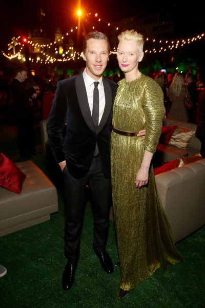 "HOLLYWOOD, CA - OCTOBER 20:  Actors Benedict Cumberbatch (L) and Tilda Swinton, wearing Haider Ackermann, attend The Los Angeles World Premiere of Marvel Studiosí ""Doctor Strangeî in Hollywood, CA on Oct. 20th, 2016.  (Photo by Jesse Grant/Getty Images for Disney) *** Local Caption *** Benedict Cumberbatch; Tilda Swinton"
