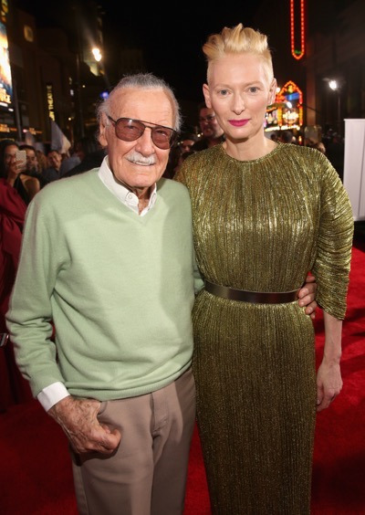 "HOLLYWOOD, CA - OCTOBER 20:  Executive producer Stan Lee (L) and Actress Tilda Swinton, wearing Haider Ackermann, attend The Los Angeles World Premiere of Marvel Studiosí ""Doctor Strangeî in Hollywood, CA on Oct. 20th, 2016.  (Photo by Jesse Grant/Getty Images for Disney) *** Local Caption *** Stan Lee; Tilda Swinton"