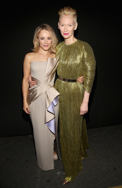 "HOLLYWOOD, CA - OCTOBER 20:  Actresses Rachel McAdams (L) and Tilda Swinton, wearing Haider Ackermann, attend The Los Angeles World Premiere of Marvel Studiosí ""Doctor Strangeî in Hollywood, CA on Oct. 20th, 2016.  (Photo by Jesse Grant/Getty Images for Disney) *** Local Caption *** Rachel McAdams; Tilda Swinton"