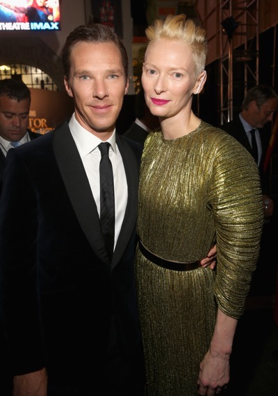 "HOLLYWOOD, CA - OCTOBER 20: Actor Benedict Cumberbatch (L) and Tilda Swinton, wearing Haider Ackermann, attend The Los Angeles World Premiere of Marvel Studiosí ""Doctor Strangeî in Hollywood, CA on Oct. 20th, 2016.  (Photo by Jesse Grant/Getty Images for Disney) *** Local Caption *** Benedict Cumberbatch; Tilda Swinton"