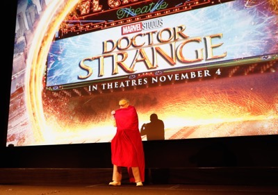 "HOLLYWOOD, CA - OCTOBER 23:  Marvel fan families and kids attend a special screening of Marvel Studios' ""DOCTOR STRANGE"" in 3D hosted by Stan Lee at the El Capitan Theatre on October 23, 2016 in Hollywood, California.  (Photo by Rich Polk/Getty Images for Disney) *** Local Caption *** Stan Lee"