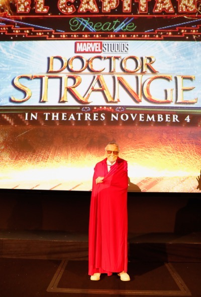 """HOLLYWOOD, CA - OCTOBER 23:  Marvel fan families and kids attend a special screening of Marvel Studios' """"DOCTOR STRANGE"""" in 3D hosted by Stan Lee at the El Capitan Theatre on October 23, 2016 in Hollywood, California.  (Photo by Rich Polk/Getty Images for Disney) *** Local Caption *** Stan Lee"""
