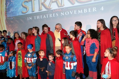 "HOLLYWOOD, CA - OCTOBER 23:  Marvel fans and Disney Channel talent attend a special screening of Marvel Studios' ""DOCTOR STRANGE"" in 3D hosted by Stan Lee at the El Capitan Theatre on October 23, 2016 in Hollywood, California.  (Photo by Rich Polk/Getty Images for Disney) *** Local Caption *** Stan Lee"