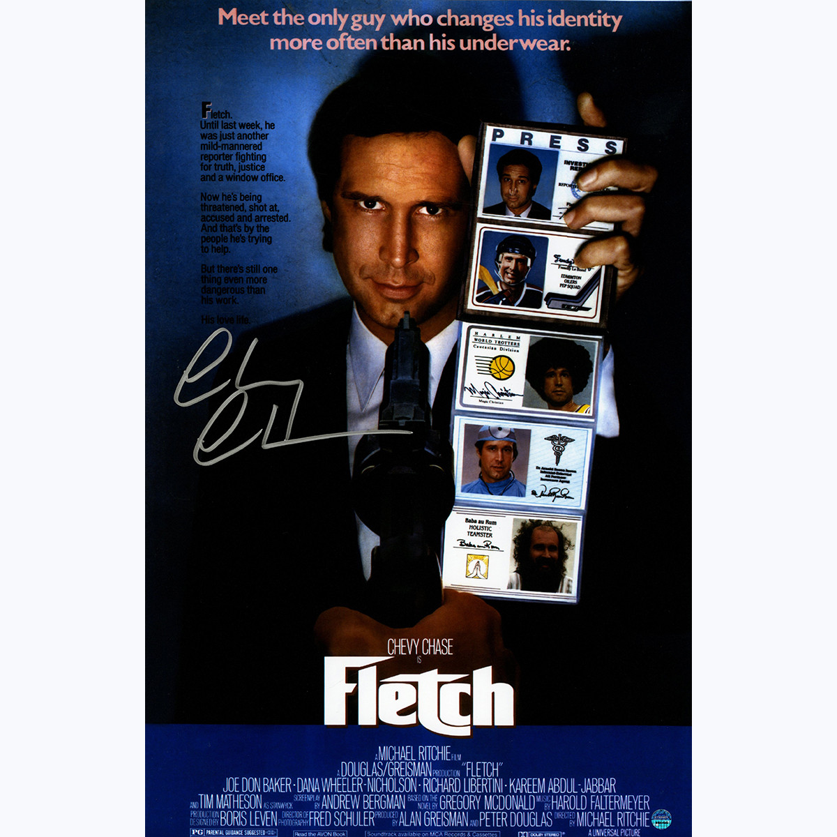 Chevy Chase signed Fletch poster