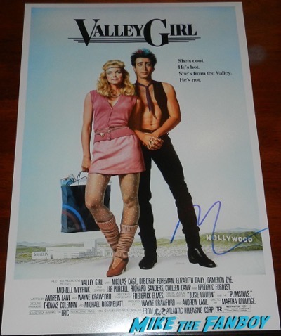 nicolas cage signed autograph valley girl poster