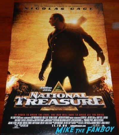 nicolas cage signed autograph national treasure poster