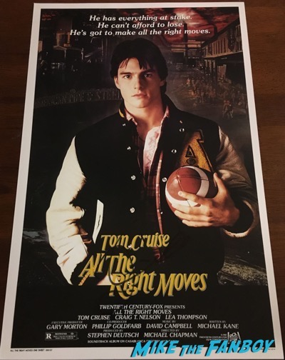 tom cruise all the right moves signed autograph poster psa