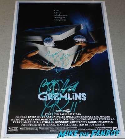 zach galligan signed autograph gremlins poster