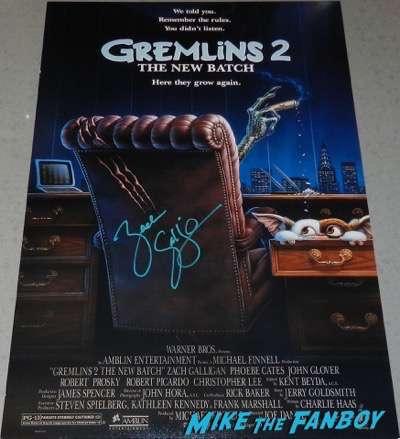 zach galligan signed autograph gremlins 2 poster