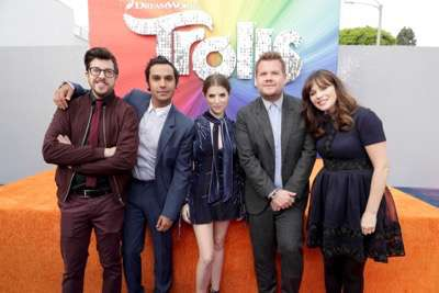 "Christopher Mintz-Plasse, Kunal Nayyar, Anna Kendrick, James Corden and Zooey Deschanel seen at DreamWorks Animation and Twentieth Century Fox Present the Los Angeles Premiere of ""Trolls"" at Regency Village Theatre on Sunday, Oct. 23, 2016, in Los Angeles. (Photo by Eric Charbonneau/Invision for Twentieth Century Fox/AP Images)"