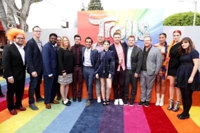 """Cast and crew of """"Trolls"""" seen at DreamWorks Animation and Twentieth Century Fox Present the Los Angeles Premiere of """"Trolls"""" at Regency Village Theatre on Sunday, Oct. 23, 2016, in Los Angeles. (Photo by Eric Charbonneau/Invision for Twentieth Century Fox/AP Images)"""