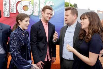 """Anna Kendrick, Justin Timberlake, James Corden and Zooey Deschanel seen at DreamWorks Animation and Twentieth Century Fox Present the Los Angeles Premiere of """"Trolls"""" at Regency Village Theatre on Sunday, Oct. 23, 2016, in Los Angeles. (Photo by Eric Charbonneau/Invision for Twentieth Century Fox/AP Images)"""