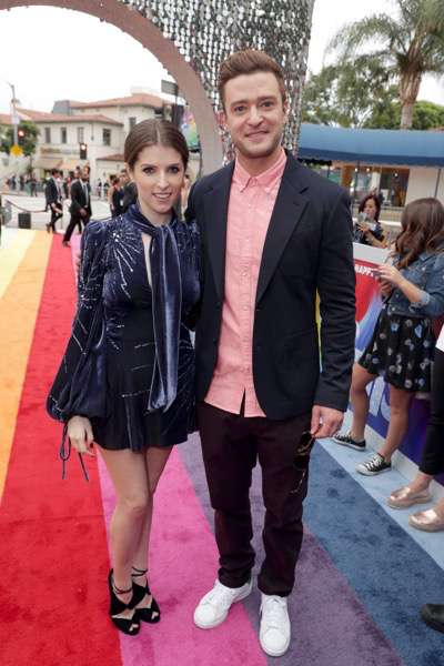 """Anna Kendrick and Justin Timberlake seen at DreamWorks Animation and Twentieth Century Fox Present the Los Angeles Premiere of """"Trolls"""" at Regency Village Theatre on Sunday, Oct. 23, 2016, in Los Angeles. (Photo by Eric Charbonneau/Invision for Twentieth Century Fox/AP Images)"""