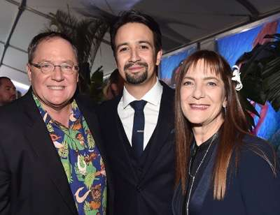 "HOLLYWOOD, CA - NOVEMBER 14:  (L-R) Executive producer John Lasseter, songwriter Lin-Manuel Miranda and producer Osnat Shurer attend The World Premiere of Disneyís ""MOANA"" at the El Capitan Theatre on Monday, November 14, 2016 in Hollywood, CA.  (Photo by Alberto E. Rodriguez/Getty Images for Disney) *** Local Caption *** John Lasseter; Lin-Manuel Miranda; Osnat Shurer"