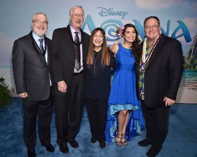 "HOLLYWOOD, CA - NOVEMBER 14: (L-R) Directors Ron Clements and John Musker, producer Osnat Shurer, actress Auli'i Cravalho and executive producer John Lasseter attend The World Premiere of Disneyís ""MOANA"" at the El Capitan Theatre on Monday, November 14, 2016 in Hollywood, CA.  (Photo by Alberto E. Rodriguez/Getty Images for Disney) *** Local Caption *** Ron Clements; John Musker; Osnat Shurer; Auli'i Cravalho; John Lasseter"