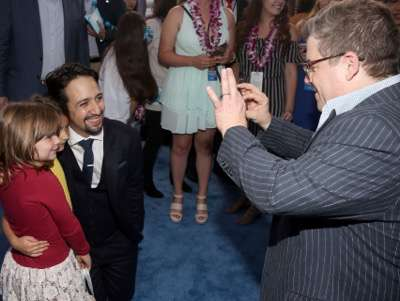 "HOLLYWOOD, CA - NOVEMBER 14:  Songwriter Lin-Manuel Miranda (L) and actor Patton Oswalt attend The World Premiere of Disneyís ""MOANA"" at the El Capitan Theatre on Monday, November 14, 2016 in Hollywood, CA.  (Photo by Jesse Grant/Getty Images for Disney) *** Local Caption *** Lin-Manuel Miranda; Patton Oswalt"