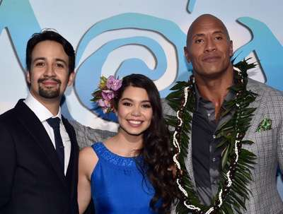 "HOLLYWOOD, CA - NOVEMBER 14:  (L-R) Songwriter Lin-Manuel Miranda, actors Auli'i Cravalho and Dwayne Johnson attend The World Premiere of Disneyís ""MOANA"" at the El Capitan Theatre on Monday, November 14, 2016 in Hollywood, CA.  (Photo by Alberto E. Rodriguez/Getty Images for Disney) *** Local Caption *** Auli'i Cravalho; Dwayne Johnson; Lin-Manuel Miranda"