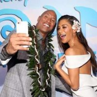 """HOLLYWOOD, CA - NOVEMBER 14: Actors Dwayne Johnson (L) and Nicole Scherzinger attend The World Premiere of Disneyís """"MOANA"""" at the El Capitan Theatre on Monday, November 14, 2016 in Hollywood, CA. (Photo by Jesse Grant/Getty Images for Disney) *** Local Caption *** Nicole Scherzinger; Dwayne Johnson"""