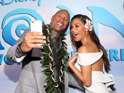 "HOLLYWOOD, CA - NOVEMBER 14:  Actors Dwayne Johnson (L) and Nicole Scherzinger attend The World Premiere of Disneyís ""MOANA"" at the El Capitan Theatre on Monday, November 14, 2016 in Hollywood, CA.  (Photo by Jesse Grant/Getty Images for Disney) *** Local Caption *** Nicole Scherzinger; Dwayne Johnson"