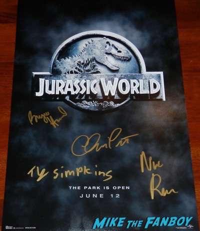 Bryce Dallas Howard signed autograph jurassic world poster chris pratt