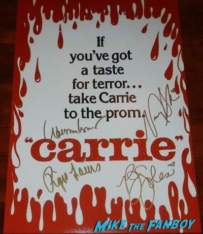 Carrie teaser poster signed autograph PJ Soles William Katt Nancy Allen Piper Laurie