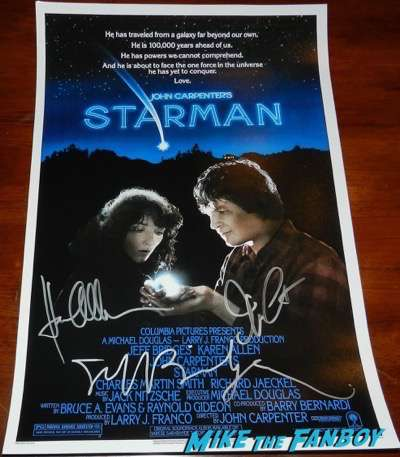 Jeff Bridges Karen Allen John Carpenter signed autograph starman poster