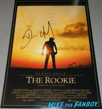 Dennis Quaid signed autograph the rookie poster