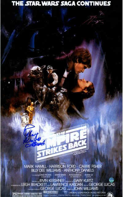 peter mayhew signed poster