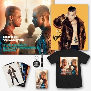 The new album on deluxe CD, plus a collector's bundle including an official t-shirt, as well as a set of 8 postcards, a keyring, a special lanyard with laminate, and a 8″ × 10″ print featuring a new official photo of Robbie, signed by Robbie himself.