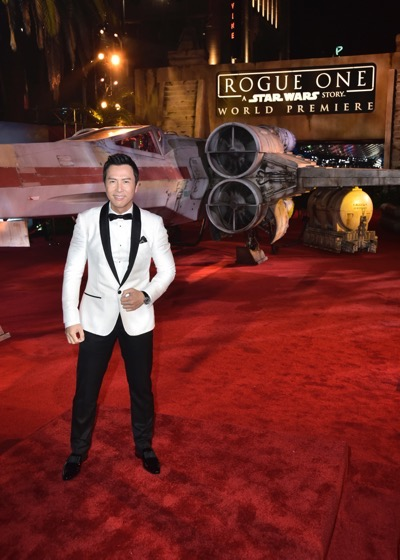 "HOLLYWOOD, CA - DECEMBER 10:  Actor Donnie Yen attends The World Premiere of Lucasfilm's highly anticipated, first-ever, standalone Star Wars adventure, ""Rogue One: A Star Wars Story"" at the Pantages Theatre on December 10, 2016 in Hollywood, California.  (Photo by Marc Flores/Getty Images for Disney) *** Local Caption *** Donnie Yen"