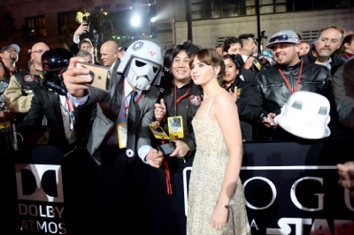 "HOLLYWOOD, CA - DECEMBER 10: Actress Felicity Jones attends The World Premiere of Lucasfilm's highly anticipated, first-ever, standalone Star Wars adventure, ""Rogue One: A Star Wars Story"" at the Pantages Theatre on December 10, 2016 in Hollywood, California.  (Photo by Charley Gallay/Getty Images for Disney) *** Local Caption *** Felicity Jones"