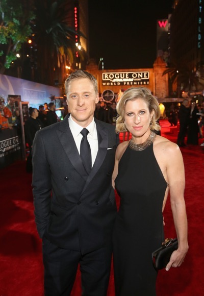 "HOLLYWOOD, CA - DECEMBER 10:  Actor Alan Tudyk and choreographer Charissa Barton attend The World Premiere of Lucasfilm's highly anticipated, first-ever, standalone Star Wars adventure, ""Rogue One: A Star Wars Story"" at the Pantages Theatre on December 10, 2016 in Hollywood, California.  (Photo by Jesse Grant/Getty Images for Disney) *** Local Caption *** Alan Tudyk; Charissa Barton"