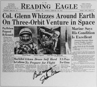john glenn signed newspaper photo