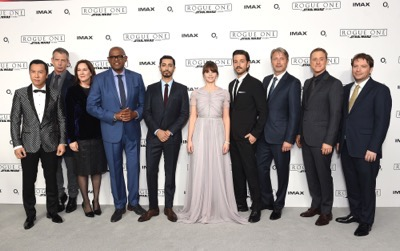 "LONDON, ENGLAND - DECEMBER 13:  (L-R) Donnie Yen, Ben Mendelsohn, Kathleen Kennedy, Forest Whitaker, Riz Ahmed, Felicity Jones, Diego Luna, Mads Mikkelsen, Alan Tudyk and Gareth Edwards attend the exclusive screening of  Lucasfilm's highly anticipated, first-ever, standalone Star Wars adventure ""Rogue One: A Star Wars Story"" at the BFI IMAX on December 13, 2016 in London, England.  (Photo by Stuart C. Wilson/Getty Images for Disney) *** Local Caption *** Donnie Yen; Ben Mendelsohn; Kathleen Kennedy; Forest Whitaker; Riz Ahmed; Felicity Jones; Diego Luna; Mads Mikkelsen; Alan Tudyk; Gareth Edwards"