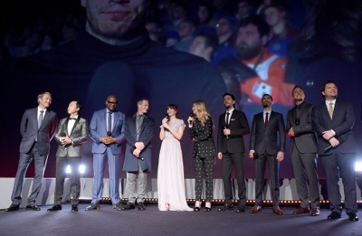 "LONDON, ENGLAND - DECEMBER 13:  (L-R) Mads Mikkelsen, Donnie Yen, Forest Whitaker, Ben Mendelsohn, Felicity Jones, Edith Bowman, Diego Luna, Riz Ahmed, Alan Tudyk and Gareth Edwards attend the exclusive screening of  Lucasfilm's highly anticipated, first-ever, standalone Star Wars adventure ""Rogue One: A Star Wars Story"" at the BFI IMAX on December 13, 2016 in London, England.  (Photo by Stuart C. Wilson/Getty Images for Disney) *** Local Caption *** Mads Mikkelsen; Donnie Yen; Forest Whitaker; Ben Mendelsohn; Felicity Jones; Edith Bowman; Diego Luna; Riz Ahmed; Alan Tudyk; Gareth Edwards"