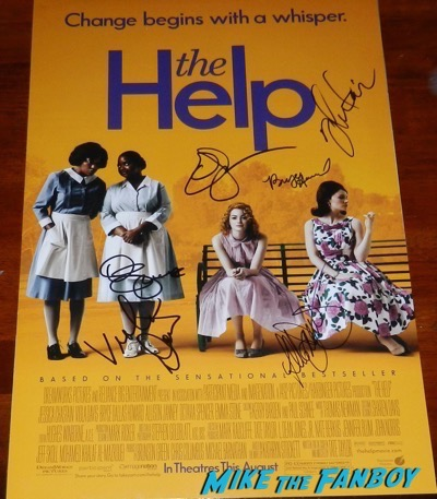the help cast signed autograph poster octavia spencer emma stone viola davis psa