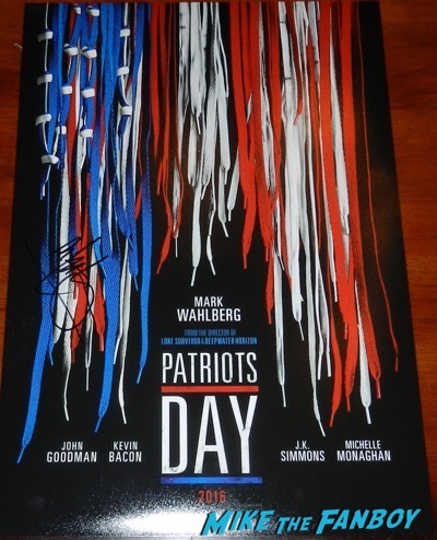 mark wahlberg signed autograph patriot's day poster psa
