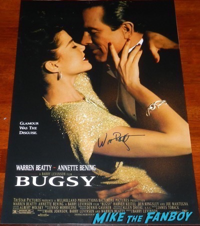 warren beatty signed autograph bugsy poster PSA