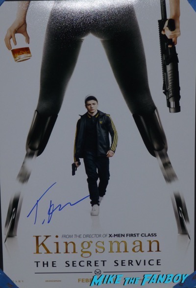 taron egerton signed Kingsman The Secret Service movie poster psa