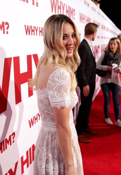 "Kaley Cuoco attends Twentieth Century Fox's world premiere of ""Why Him?"" at Regency Bruin Theater on Saturday, December 17, 2016, in Westwood, Calif. (Photo by [Eric Charbonneau/Invision for Twentieth Century Fox/AP Images)"