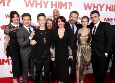 "Casey Wilson, from left, Adam Devine, Griffin Gluck, Zack Pearlman, Keegan-Michael Key, Megan Mullally, Bryan Cranston, Zoey Deutch, and James Franco attend Twentieth Century Fox's world premiere of ""Why Him?"" at Regency Bruin Theater on Saturday, December 17, 2016, in Westwood, Calif. (Photo by [Eric Charbonneau/Invision for Twentieth Century Fox/AP Images)"