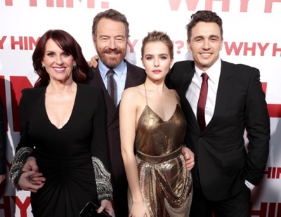 "Megan Mullally, from left, Bryan Cranston, Zoey Deutch, and James Franco attend Twentieth Century Fox's world premiere of ""Why Him?"" at Regency Bruin Theater on Saturday, December 17, 2016, in Westwood, Calif. (Photo by [Eric Charbonneau/Invision for Twentieth Century Fox/AP Images)"