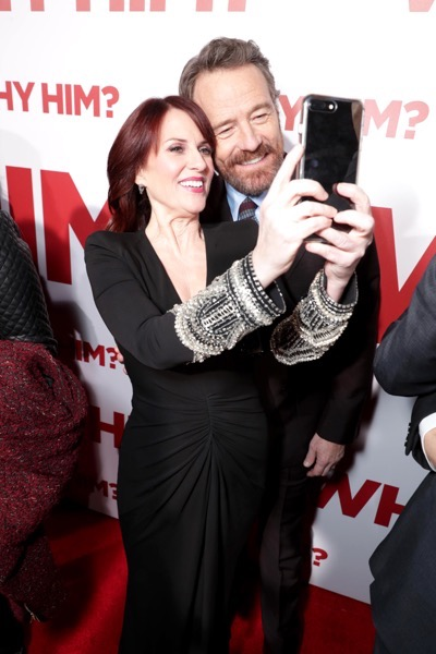 "Megan Mullally, left, and Bryan Cranston attend Twentieth Century Fox's world premiere of ""Why Him?"" at Regency Bruin Theater on Saturday, December 17, 2016, in Westwood, Calif. (Photo by [Eric Charbonneau/Invision for Twentieth Century Fox/AP Images)"