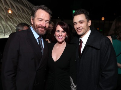 "Bryan Cranston, from left, Megan Mullally, and James Franco attend Twentieth Century Fox's world premiere of ""Why Him?"" at Regency Bruin Theater on Saturday, December 17, 2016, in Westwood, Calif. (Photo by [Eric Charbonneau/Invision for Twentieth Century Fox/AP Images)"