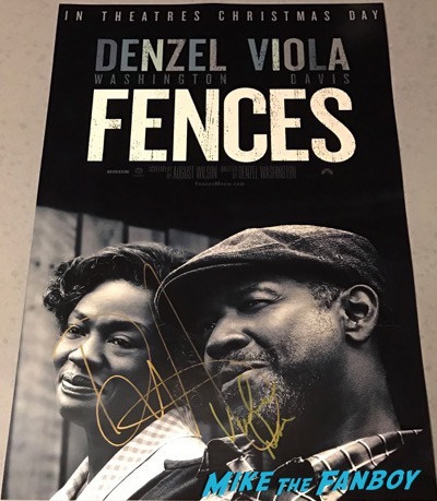 Denzel Washington viola davis signed autograph fences poster