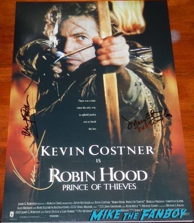 Kevin Costner signed autograph Robin hood poster alan rickman