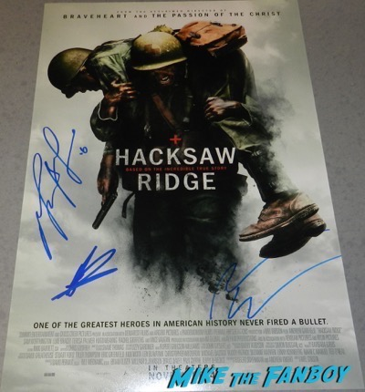 Hacksaw ridge signed autograph poster mel gibson andrew garfield