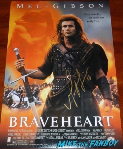 Mel Gibson signed autograph braveheart poster psa